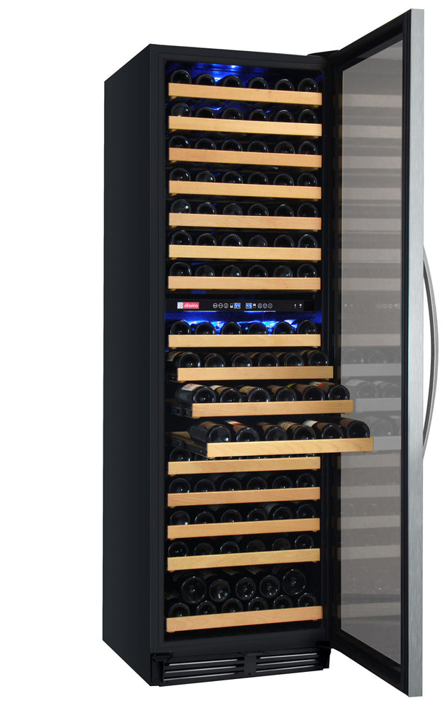 "Allavino 24"" Wide FlexCount Classic II Tru-Vino 172 Bottle Dual Zone Stainless Steel Right Hinge Wine Refrigerator - YHWR172-2SR20"