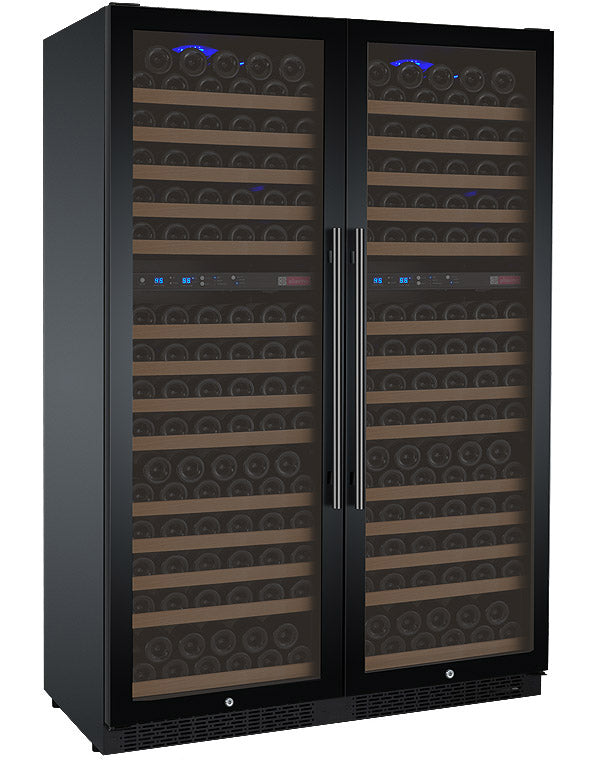 "Allavino 47"" Wide FlexCount II Tru-Vino 344 Bottle Four Zone Black Side-by-Side Wine Refrigerator - 2X-VSWR172-2B20"