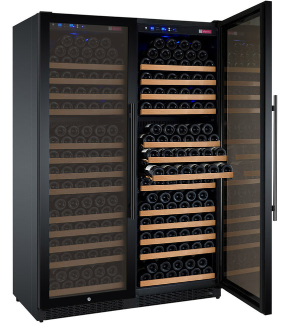 "Allavino 47"" Wide FlexCount II Tru-Vino 354 Bottle Dual Zone Black Side-by-Side Wine Refrigerator - 2X-VSWR177-1B20"