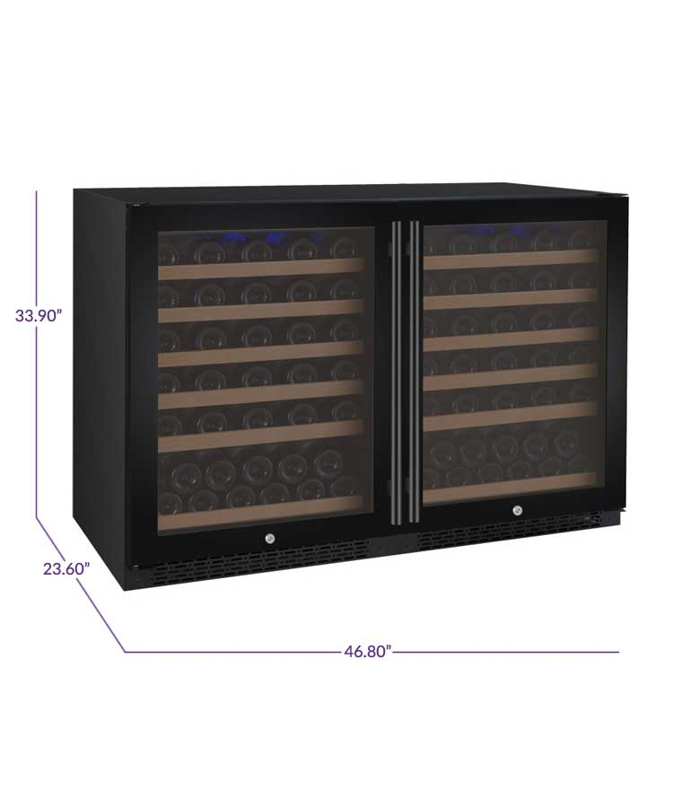 "Allavino 47"" Wide FlexCount II Tru-Vino 112 Bottle Dual Zone Black Side-by-Side Wine Refrigerator - 2X-VSWR56-1B20"