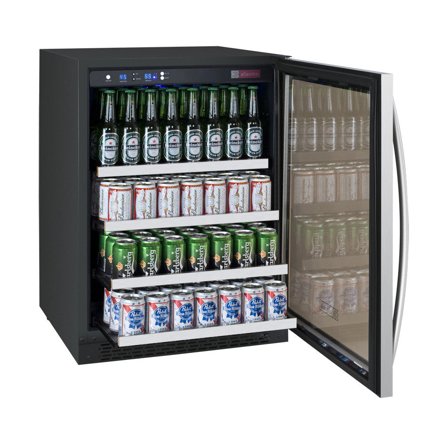 "Allavino Beverage Center 15"" Wide Black Cabinet and Stainless Steel Door - Right - Wine Cooler City"