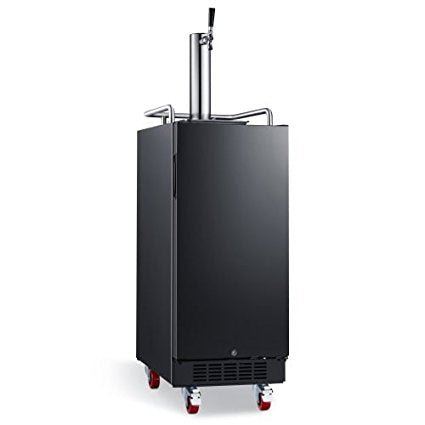 Edgestar 15 Inch Wide 1 Tap Kegerator with Forced Air Refrigeration and Air Cooled Beer Tower - KC1500BL - Wine Cooler City