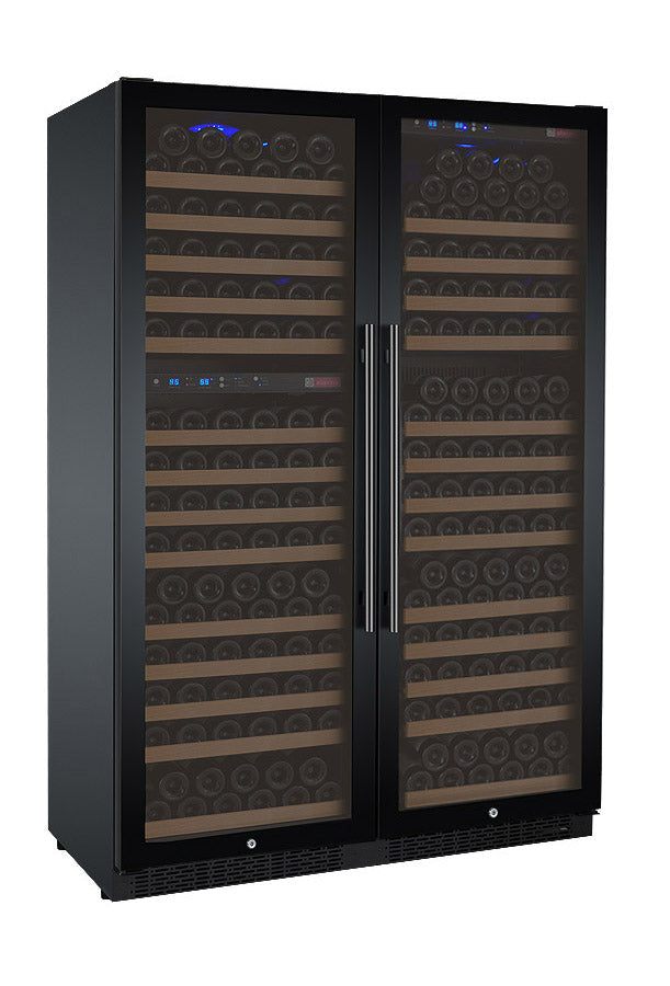 "Allavino 47"" Wide FlexCount II Tru-Vino 349 Bottle Three Zone Black Side-by-Side Wine Refrigerator - 3Z-VSWR7772-B20"