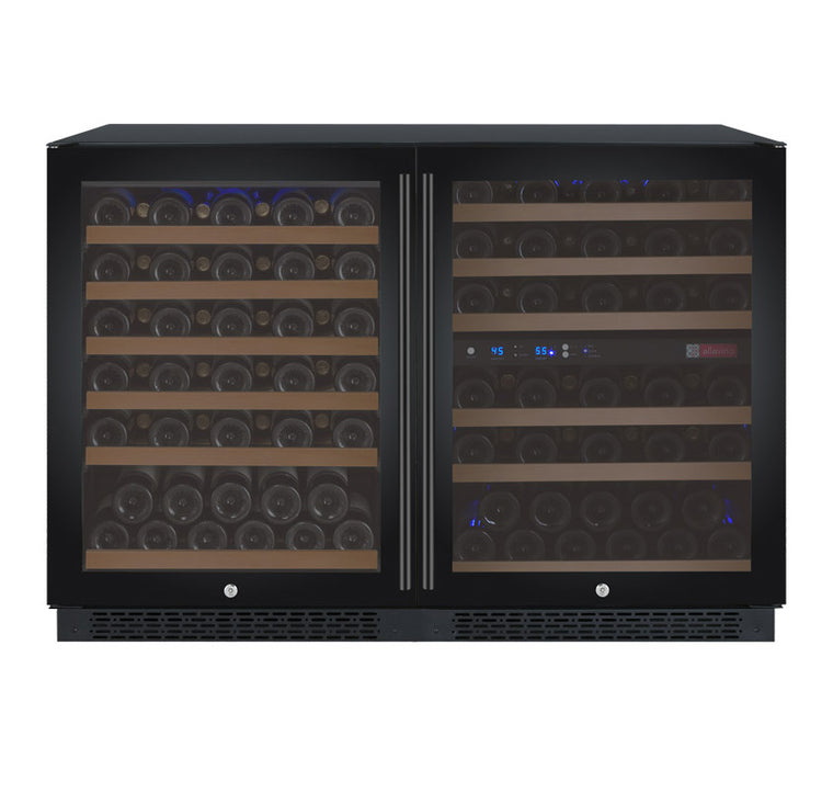 "Allavino 47"" Wide FlexCount II Tru-Vino 112 Bottle Three Zone Black Side-by-Side Wine Refrigerator - 3Z-VSWR5656-B20"