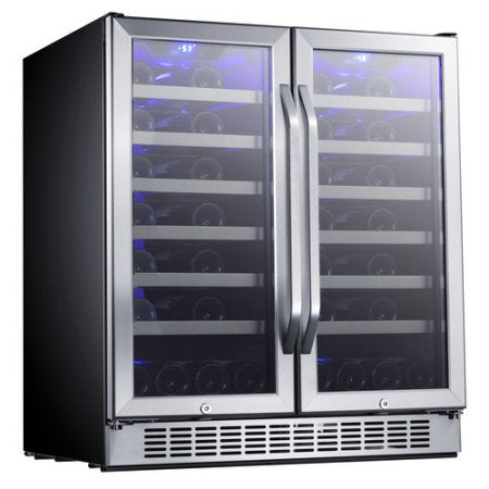 EdgeStar 30-Inch 56 Bottle Built-In Dual Zone French Door Wine Cooler - Stainless Steel and Black - CWR5631FD - Wine Cooler City