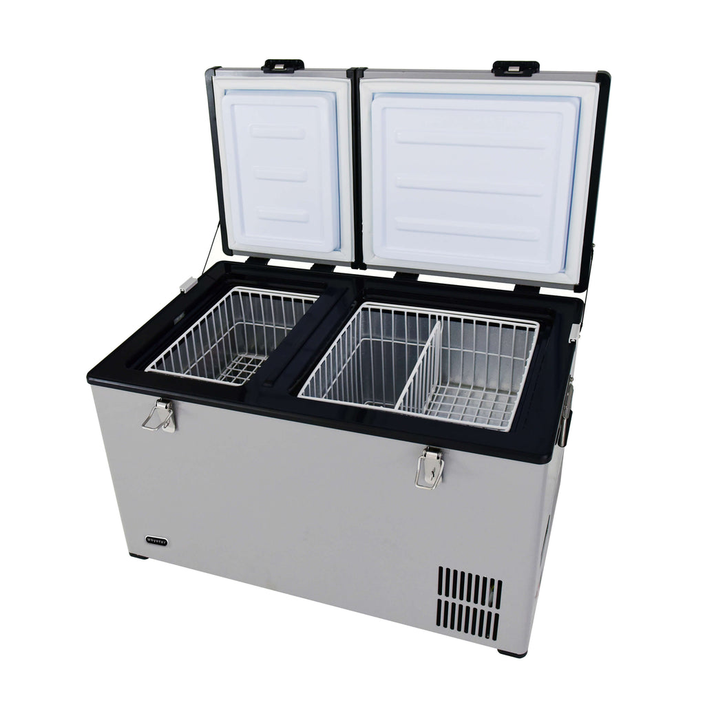 Whynter 90 Quart Dual Zone Portable Fridge/Freezer with 12V Option and Wheels - FM-901DZ - Wine Cooler City
