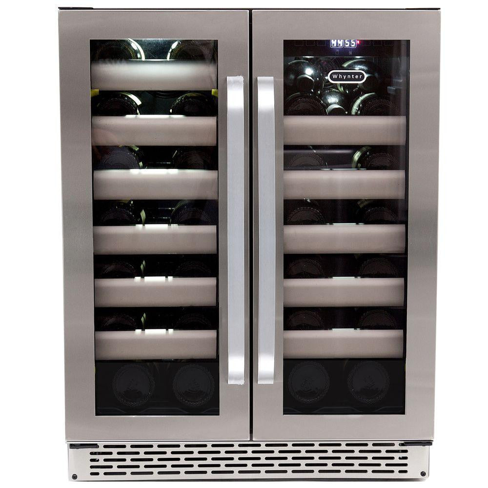 Whynter Elite 40-Bottle Seamless Stainless Steel Door Dual Zone Built-In Wine Refrigerator - Wine Cooler City