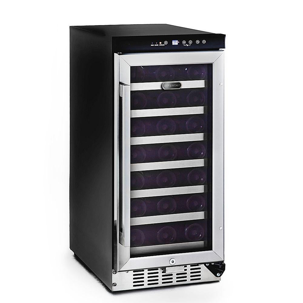 Whynter 33-Bottle Built-In Wine Refrigerator in Stainless Steel - Wine Cooler City