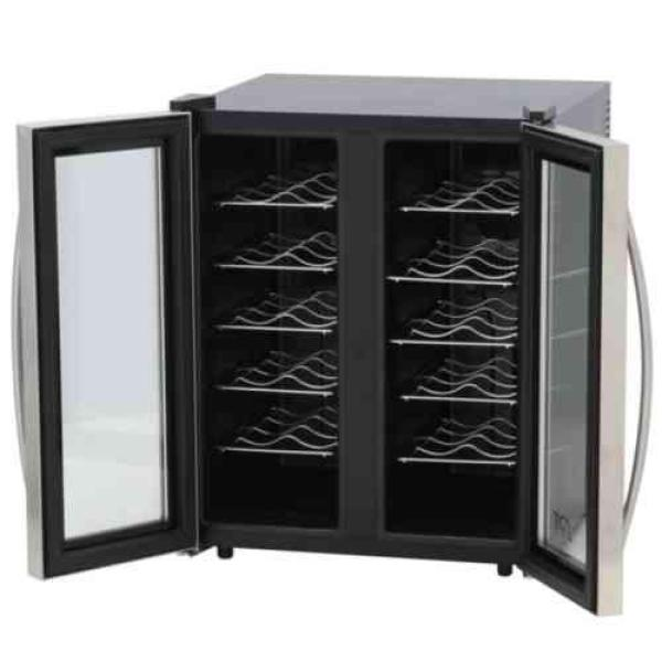 SPT 24-bottle Double-Door Dual-Zone Thermo-Electric Wine Cooler with Heating - WC-2461H - Wine Cooler City