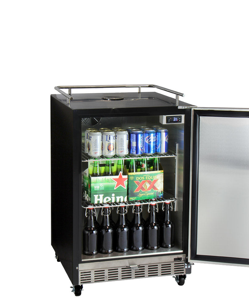 "Kegco 24"" Wide Dual Tap Stainless Steel Commercial Built-In Left Hinge Kegerator with Kit - HK38BSC-L-2 - Wine Cooler City"