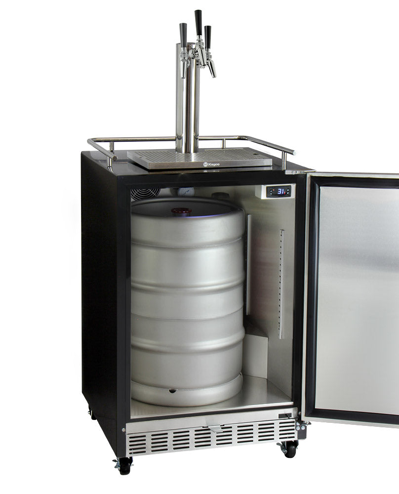 "Kegco 24"" Wide Triple Tap Stainless Steel Commercial Built-In Left Hinge Kegerator with Kit - HK38BSC-L-3"