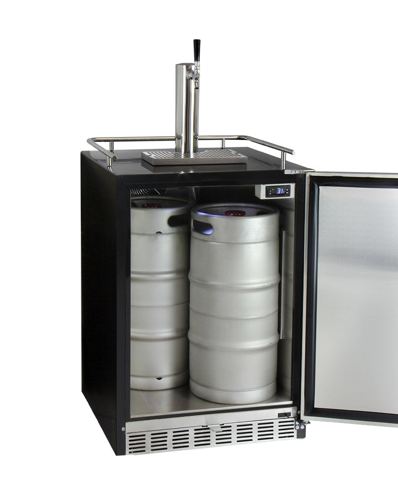 "Kegco 24"" Wide Single Tap Stainless Steel Built-In Right Hinge Kegerator with Kit - HK38BSU-1 - Wine Cooler City"
