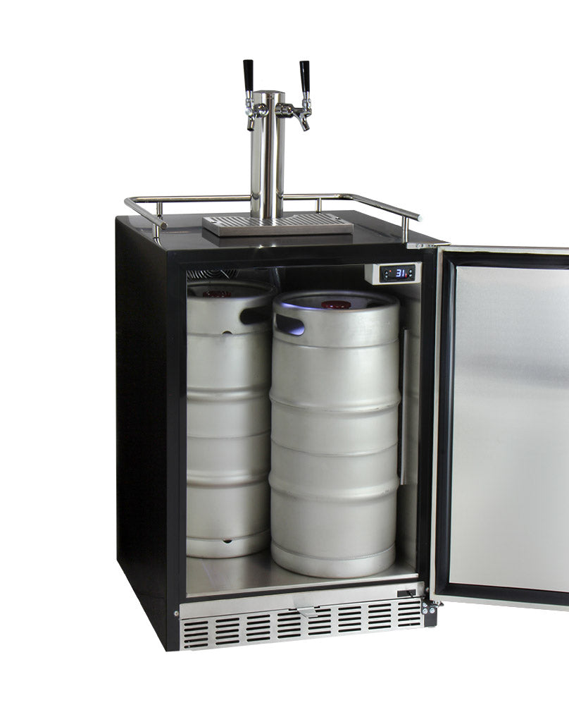 "Kegco 24"" Wide Dual Tap Stainless Steel Built-In Right Hinge Kegerator with Kit - HK38BSU-2 - Wine Cooler City"