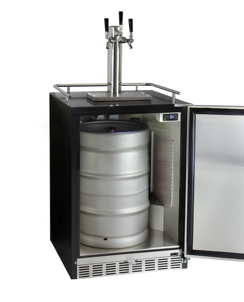 "Kegco 24"" Wide Triple Tap Stainless Steel Built-In Right Hinge Kegerator with Kit - HK38BSU-3 - Wine Cooler City"