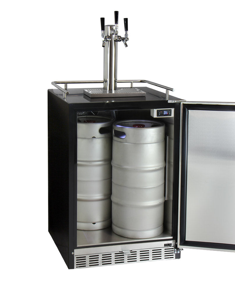 "Kegco 24"" Wide Triple Tap Stainless Steel Built-In Left Hinge Digital Kegerator with Kit - HK38BSU-L-3 - Wine Cooler City"