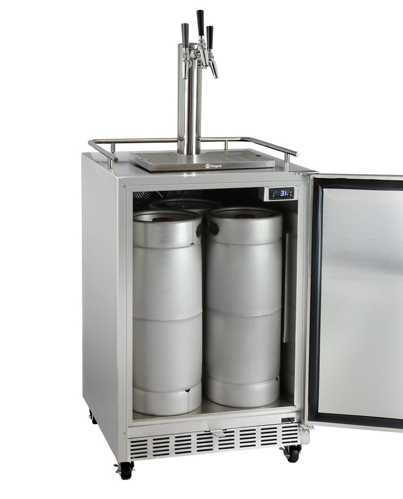 "Kegco24"" Wide Triple Tap All Stainless Steel Commercial Outdoor Left Hinge Kegerator with Kit - HK38SSC-L-3 - Wine Cooler City"