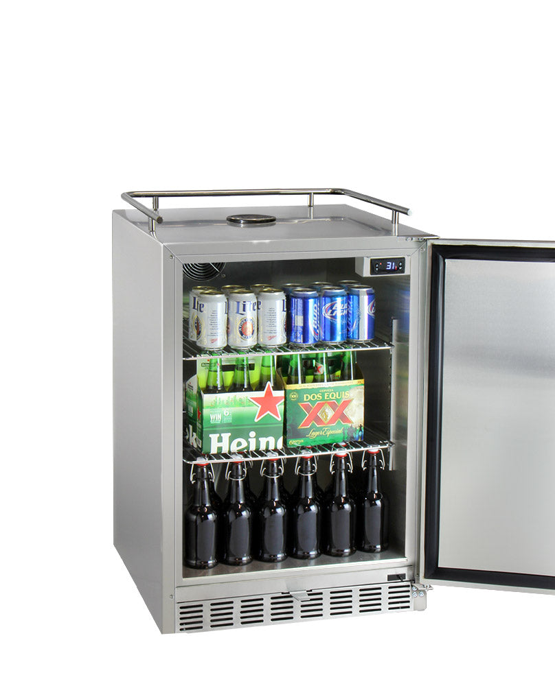 "Kegco 24"" Wide Single All Stainless Steel Outdoor Built-In Left Hinge Kegerator with Kit - HK38SSU-L-1 - Wine Cooler City"