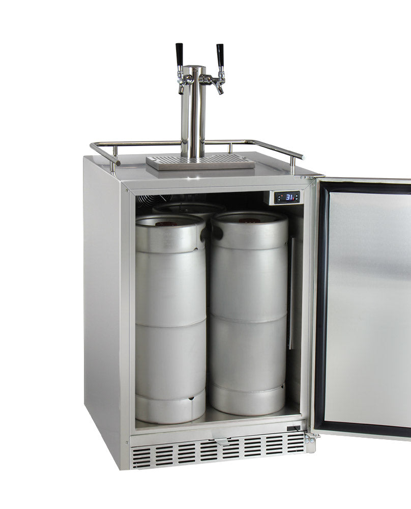 "Kegco 24"" Wide Dual Tap All Stainless Steel Outdoor Built-In Left Hinge Kegerator with Kit - HK38SSU-L-2 - Wine Cooler City"