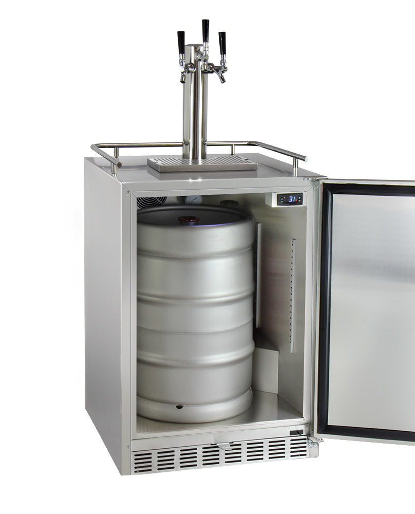 "Kegco 24"" Wide Triple Tap All Stainless Steel Outdoor Built-In Right Hinge Kegerator with Kit - HK38SSU-3 - Wine Cooler City"
