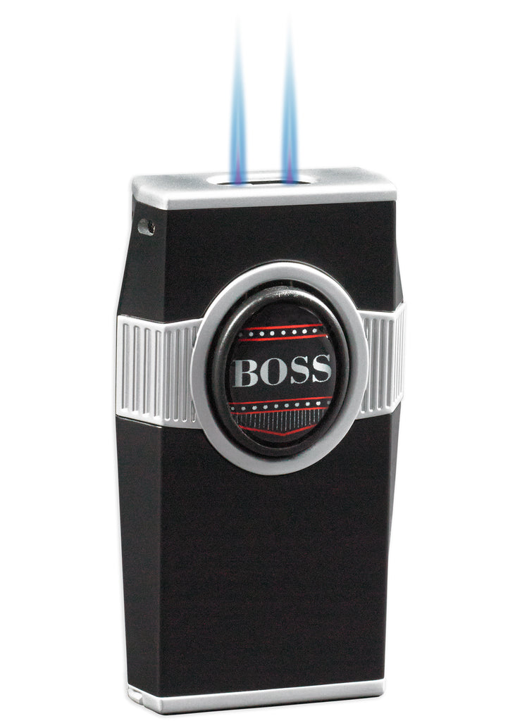 BOSS Twin Pinpoint Torch flame Lighter w/Punch - Black - Wine Cooler City