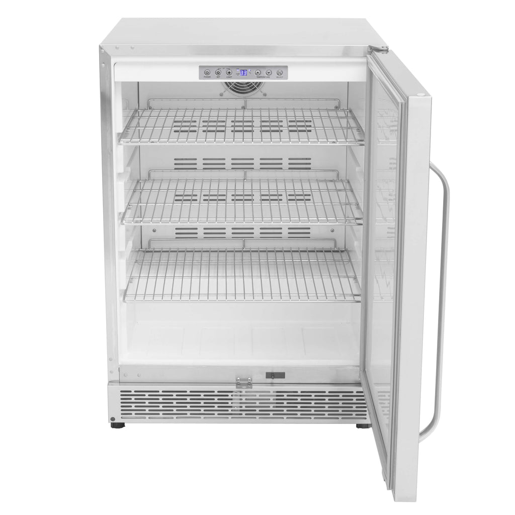 Whynter 24″ Built-in Outdoor 5.3 cu.ft. Beverage Refrigerator Cooler Full Stainless Steel Exterior with Lock and Optional Caster Wheels - BOR-53024-SSW - Wine Cooler City