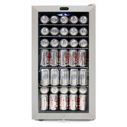 Whynter Beverage Refrigerator With Lock – Stainless Steel 120 Can Capacity BR-128WS