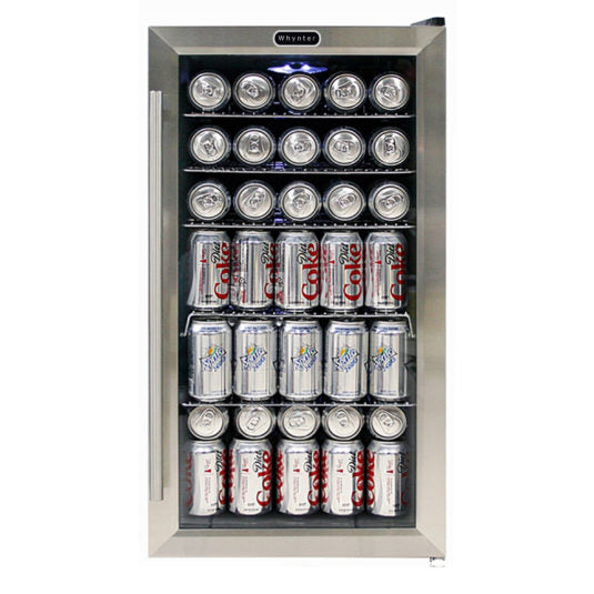 Whynter Beverage Refrigerator with Internal Fan – Stainless Steel 120 Can Capacity BR-130SB