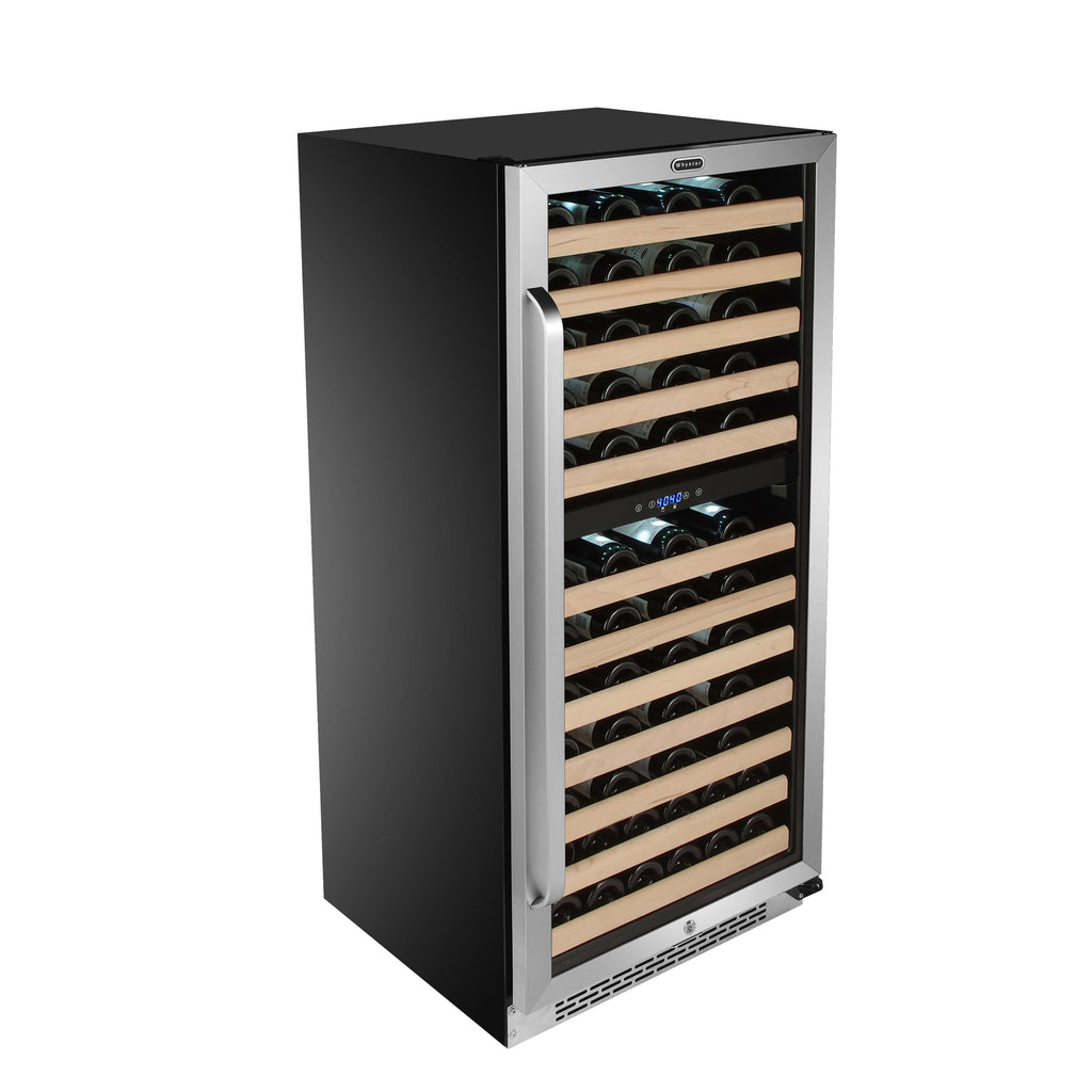 Whynter 92 Bottle Built-in Stainless Steel Dual Zone Compressor Wine Refrigerator with Display Rack and LED display - BWR-0922DZ - Wine Cooler City