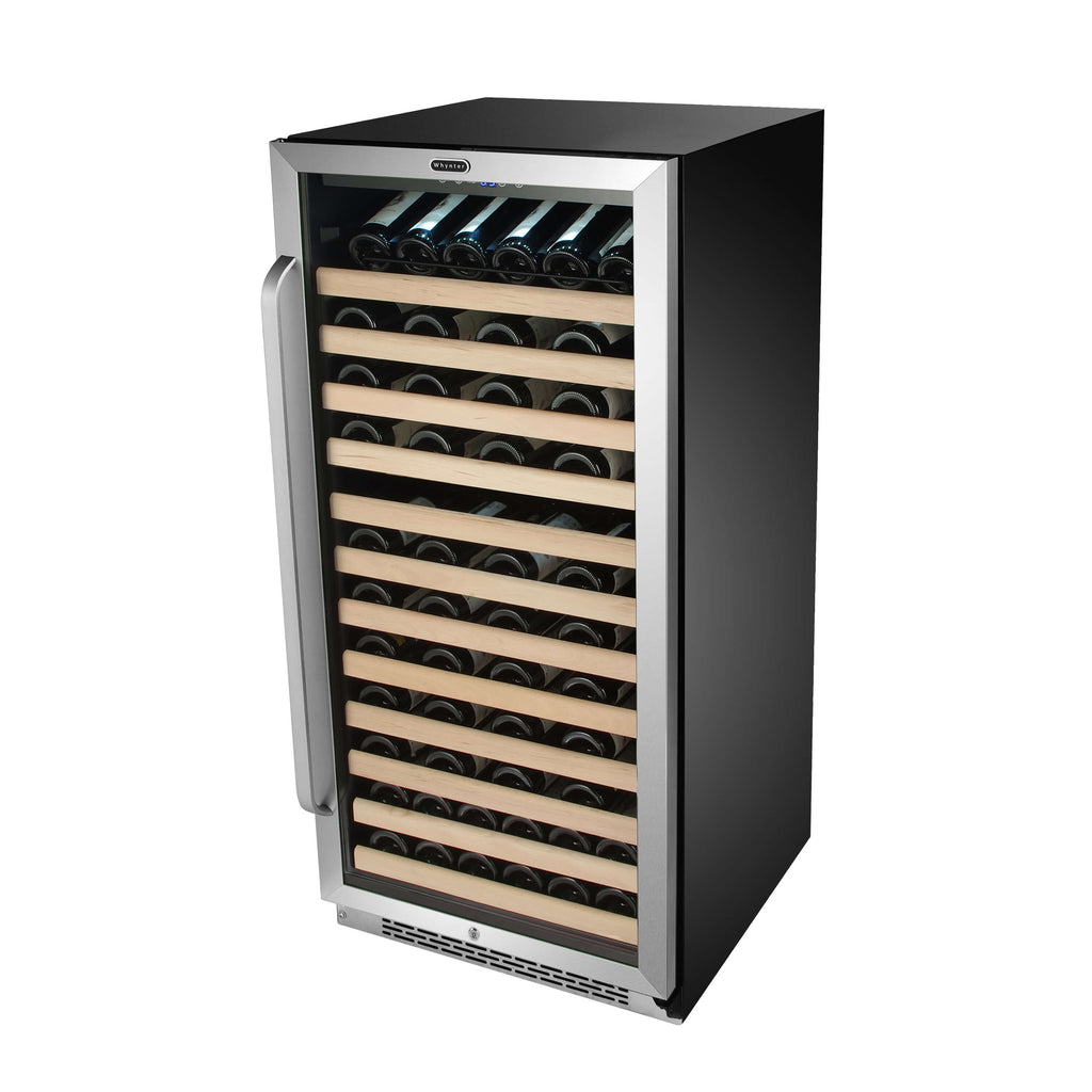 Whynter 100 Bottle Built-in Stainless Steel Compressor Wine Refrigerator with Display Rack - BWR-1002SD  and LED display - Wine Cooler City