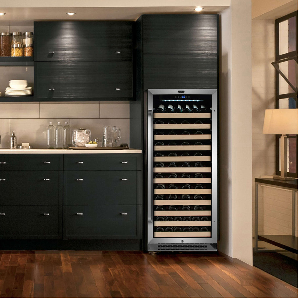 Whynter 100 Bottle Built-in Stainless Steel Compressor Wine Refrigerator with Display Rack - BWR-1002SD  and LED display