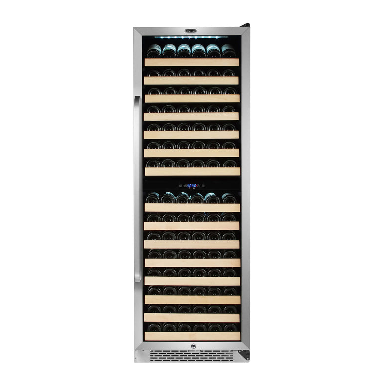 Whynter 164 Bottle Built-in Stainless Steel Dual Zone Compressor Wine Refrigerator with Display Rack and LED display - BWR-1642DZ - Wine Cooler City