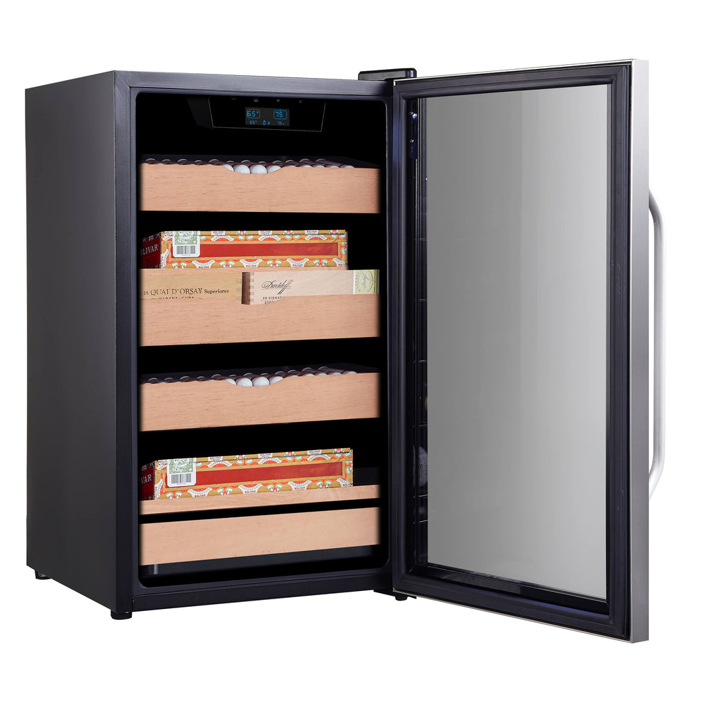 Whynter 4.2 cu.ft. Cigar Cabinet Cooler and Humidor with Humidity Temperature Control and Spanish Cedar Shelves - CHC-421HC