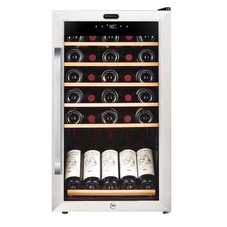 Whynter 34 Bottle Freestanding Stainless Steel Wine Refrigerator with Display Shelf and Digital Control - FWC-341TS - Wine Cooler City
