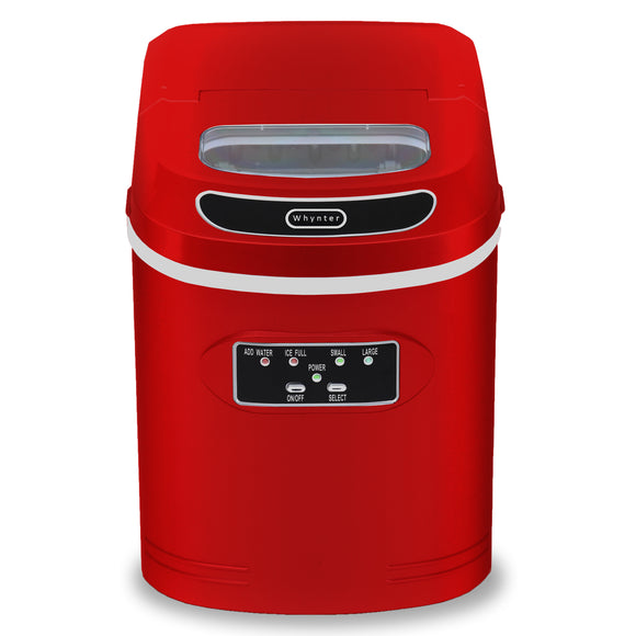 Whynter Compact Portable Ice Maker 27 lb capacity – Metallic Red IMC-270MR - Wine Cooler City