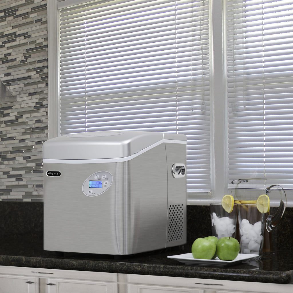Whynter Portable Ice Maker with 49lb Capacity Stainless Steel with Water Connection IMC-491DC - Wine Cooler City