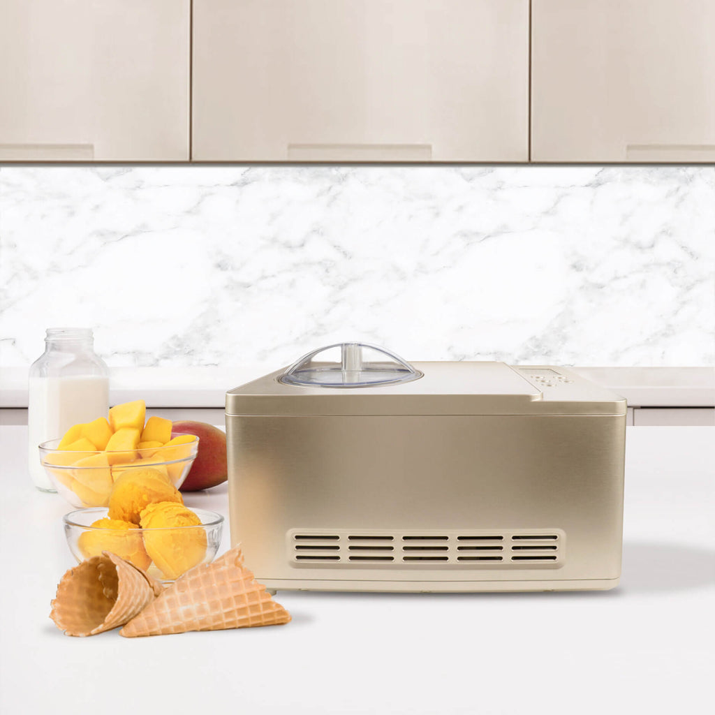 Whynter Ice Cream Maker 2 Quart Capacity Stainless Steel Bowl & Yogurt Function in Champagne Gold - ICM-220CGY - Wine Cooler City