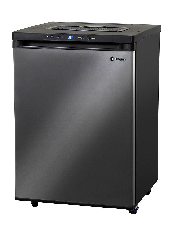 "Kegco 24"" Wide Black Stainless Steel Digital Kegerator - Cabinet Only - MDK-309X-01"