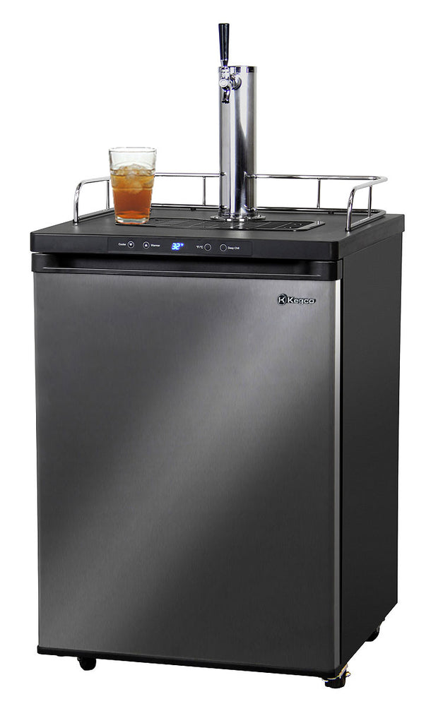 "Kegco24"" Wide Kombucha Single Tap Black Stainless Steel Kegerator - KOM30X-1NK"