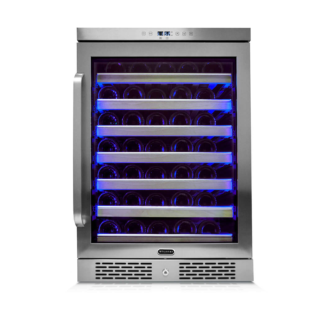 Whynter Elite Spectrum Lightshow 54 Bottle Stainless Steel 24 inch Built-in Wine Refrigerator with Touch Controls and Lock - BWR-545XS - Wine Cooler City