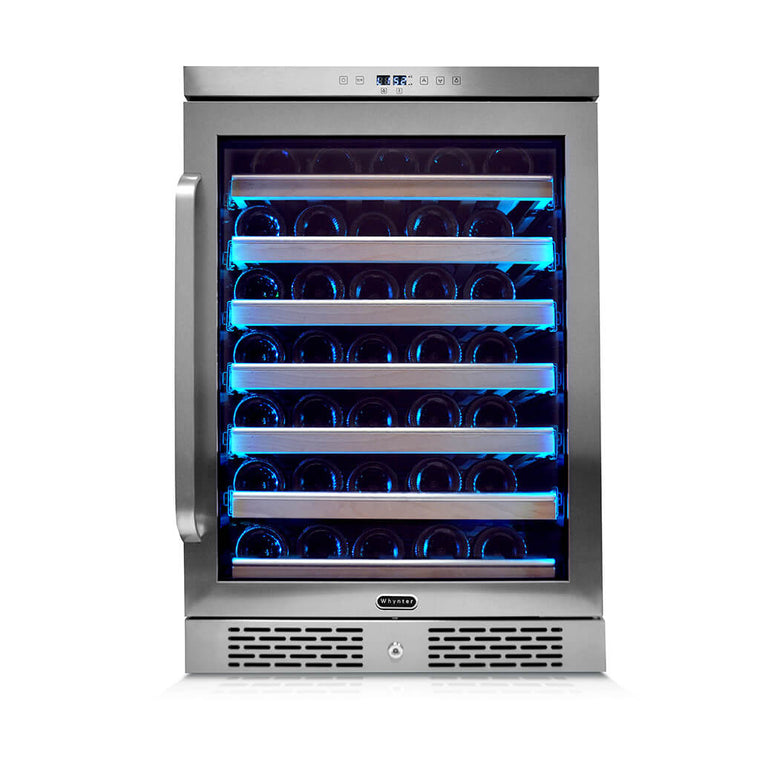 Whynter Elite Spectrum Lightshow 54 Bottle Stainless Steel 24 inch Built-in Wine Refrigerator with Touch Controls and Lock - BWR-545XS