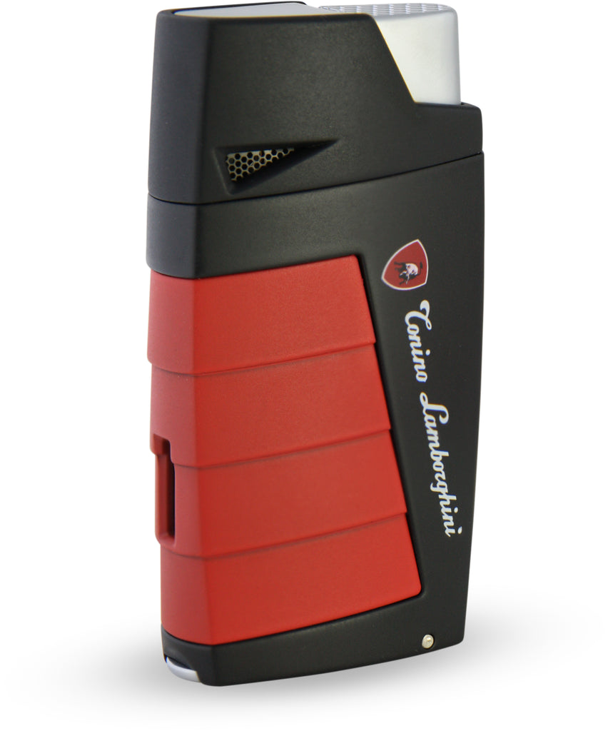 Tonino Lamborghini Duo Twin Jet Torch Flame Cigar Lighter - Black with Red - Wine Cooler City
