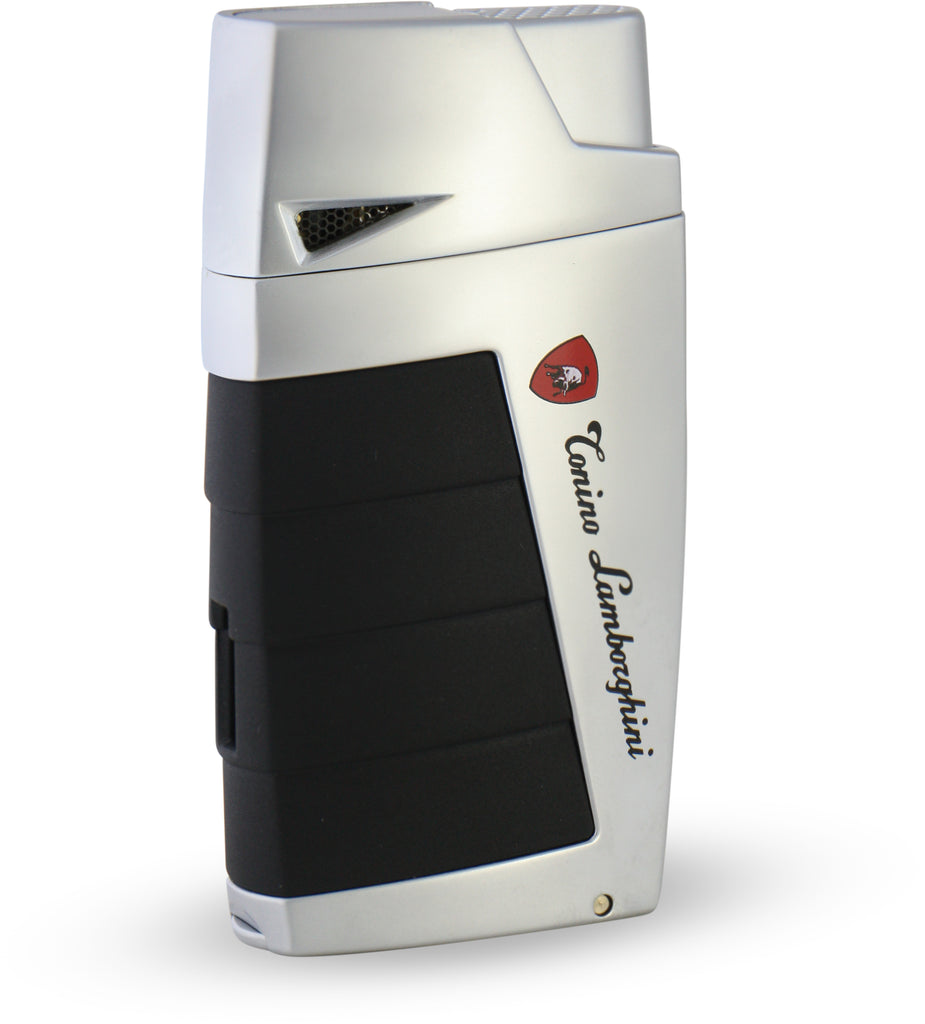 Tonino Lamborghini Duo Twin Jet Torch Flame Cigar Lighter - Chrome with Black - Wine Cooler City