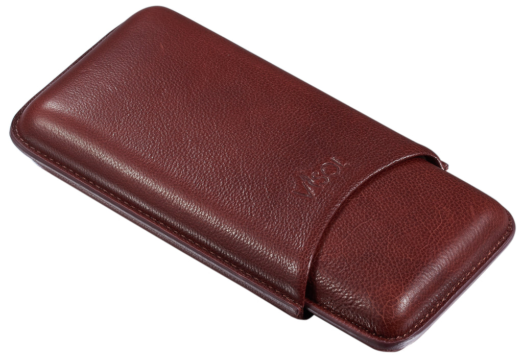 Visol Legend Burgundy Genuine Leather Cigar Case - Holds 3 Cigars - Wine Cooler City