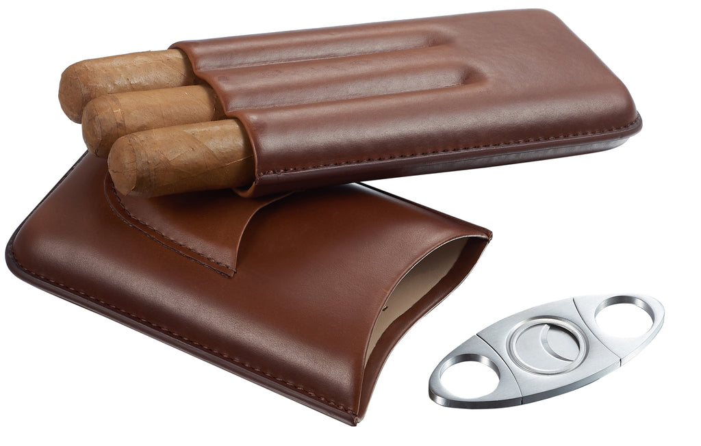 Visol Legend Brown Genuine Leather Cigar Case with Cutter - Wine Cooler City