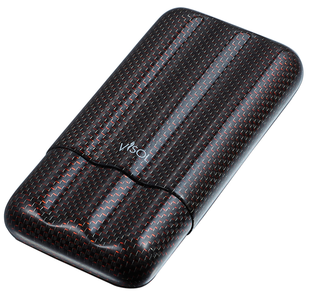 Visol Red Kevlar & Carbon Fiber Cigar Case - 3 Fingers - Wine Cooler City