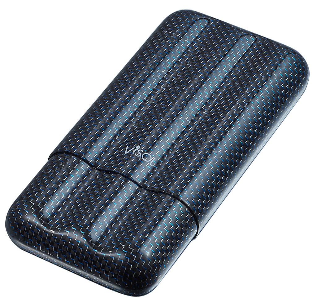 Visol Blue Kevlar & Carbon Fiber Cigar Case - 3 Fingers - Wine Cooler City