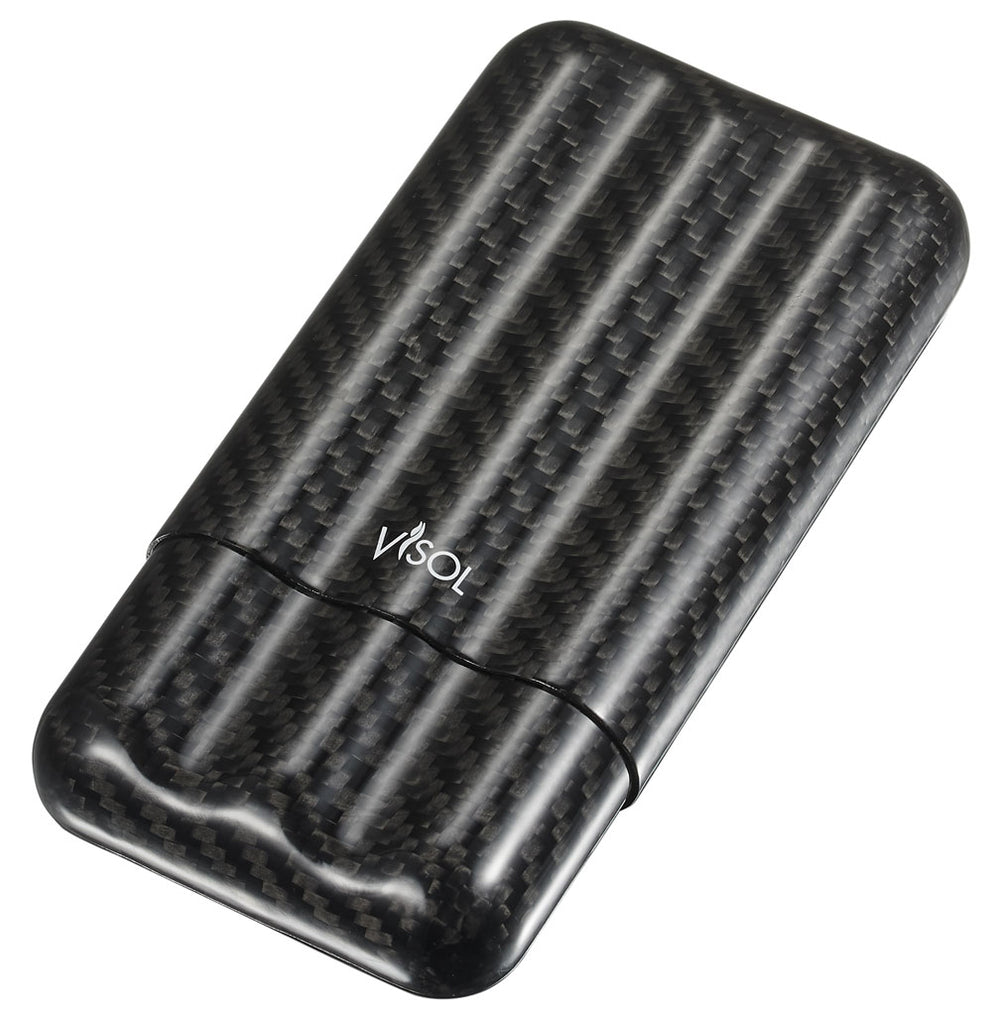 Visol Night II Carbon Fiber Larger Cigar Case - 3 Finger - Wine Cooler City