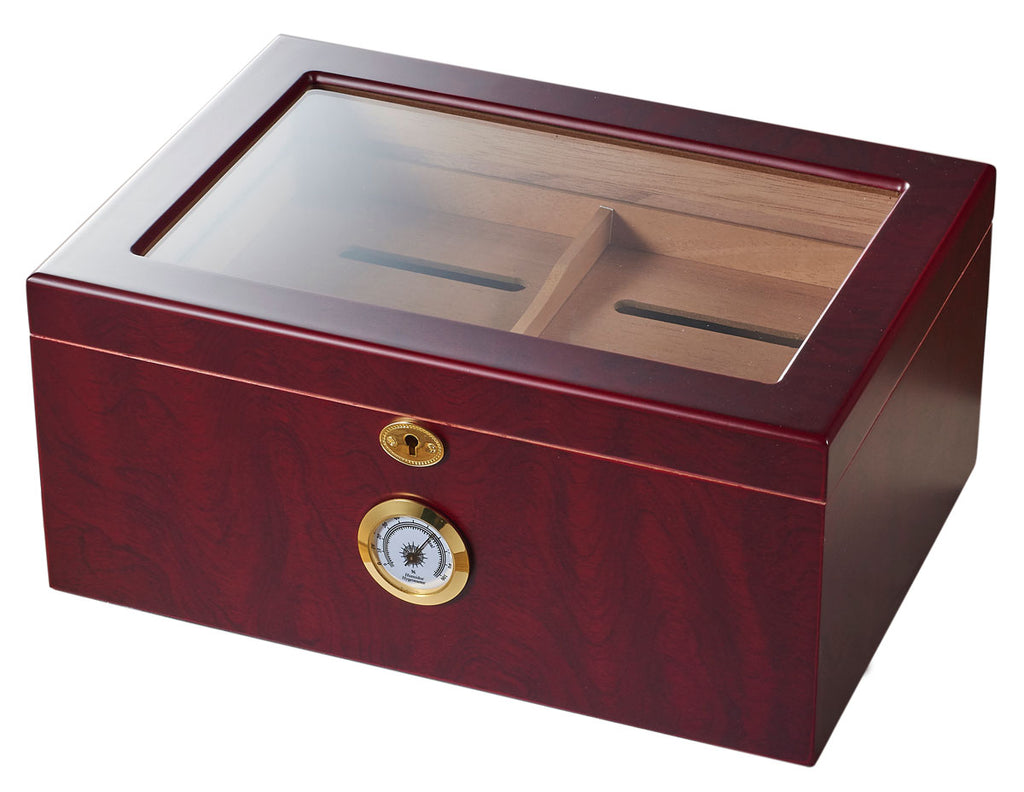 Visol Rainier Glass Top with Cherrywood Finish Cigar Humidor - Holds 100 Cigars