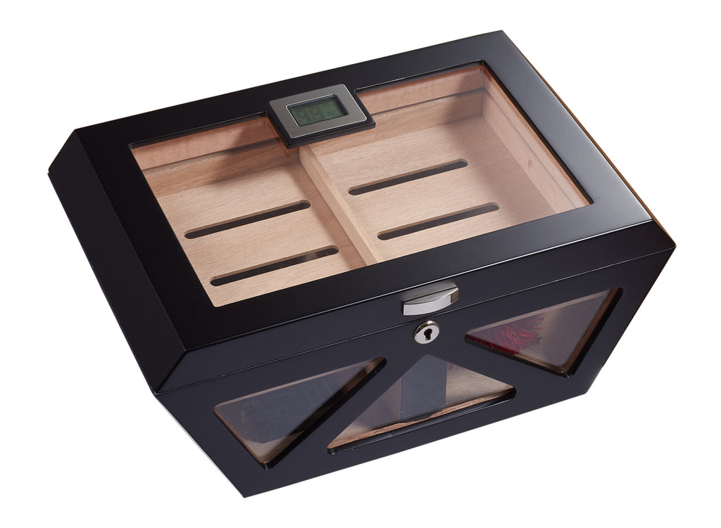 Visol Collin Matte Black Clear Top Cigar Humidor - Holds 100 Cigars