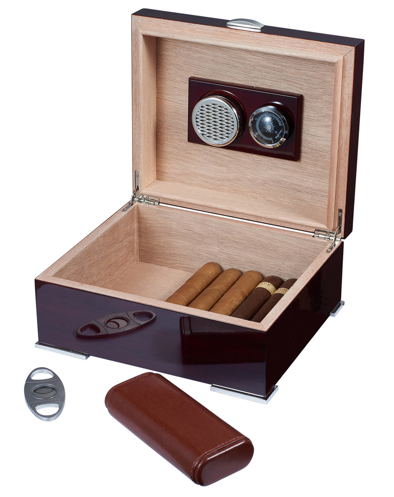 Visol Xander Burgundy Wood Humidor Gift Set with Case and Cutter